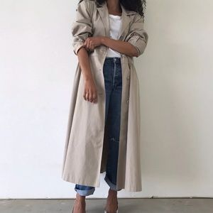VINTAGE | Cotton Blend Beige Trench Coat